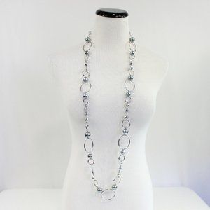 Lia Sophia Long Chain Necklace Silver Gray Beads